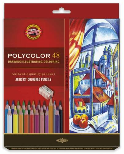 High Quality Coloured PENCIL Set 72 Crayons KOH-I-NOOR POLYCOLOR 3837 For Artist