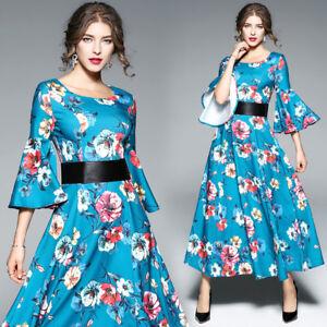 new style 2a62c 2f148 Dettagli su vestito corto abito scampanato elegante azzurro celeste fiori  moda manica 4811
