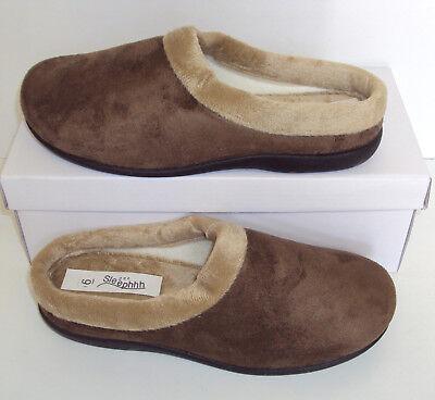 Femmes Pantoufles Mules Marron Matelassé Intérieur Doux Chaud Chaussures Tailles 3 4 5 6 7 8