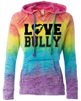 Love Bully Rainbow Hoodie For Women Pitbull Hoodie American Bully Sizes Sm- 2x