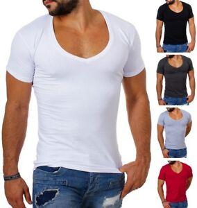 Young-amp-Rich-Herren-T-Shirt-extra-tiefer-V-Ausschnitt-slimfit-stretch-uni-1315