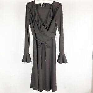 Express-Womens-Dress-Size-5-6-Brown-V-Neck