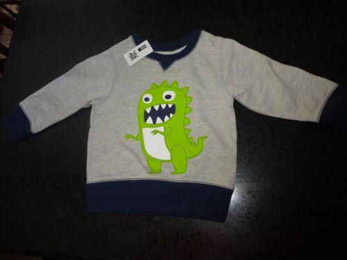 Children/'s Place Baby Toddler Boy Cotton Blend Dinosaur Sweater Gray Blue Green