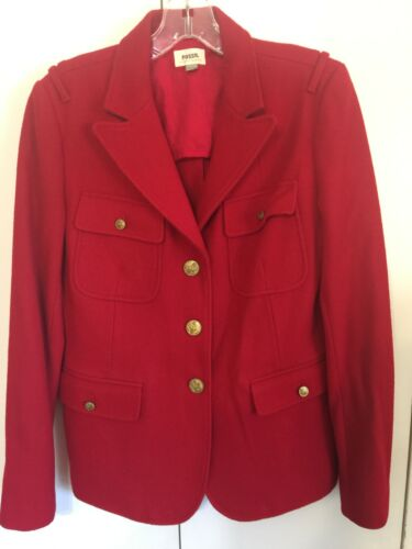 Vintage Fossil Women Red Military Wool blend Jacke
