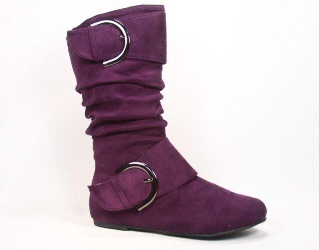 Girl's Kid's Cute Zipper Flat Heel  Mid Calf  Slouchy Boot Shoes 9 - 4, 6 Colors