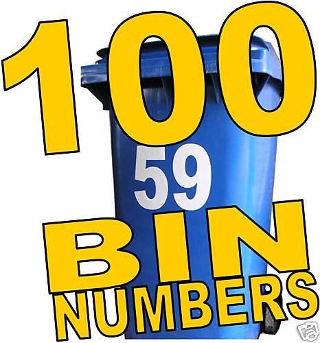 100 WHEELIE BIN NUMBERS earn home business in a box