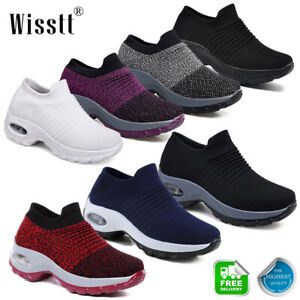 Women-Mesh-Air-Cushion-Creeper-Breathable-Sneakers-Sports-Gym-Walking-Shoes-Size