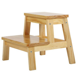 Utility-Step-Stool-2-Step-Molded-Wooden-Stool-w-Non-Slip-Treads-550-lbs-Capacity