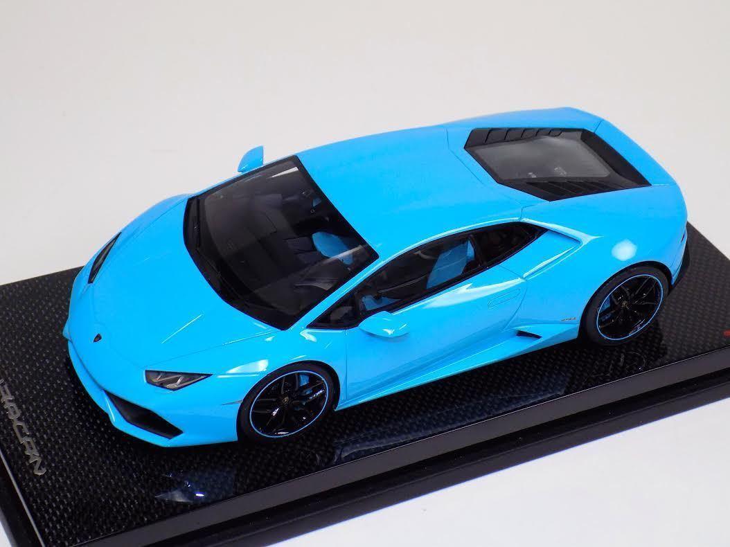 1/18 MR Collection Lamborghini Huracan Coupe LP610 Baby Blue Fiber Base