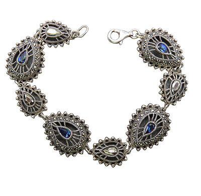 Judith Jack Sterling Silver Bracelet Cobalt Blue Crystal Marcasite 7 inch 17gg