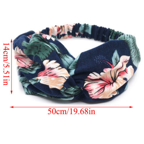 Womens Twisted Knotted Floral Headband Floral Wide Stretch Hair Band Accessories