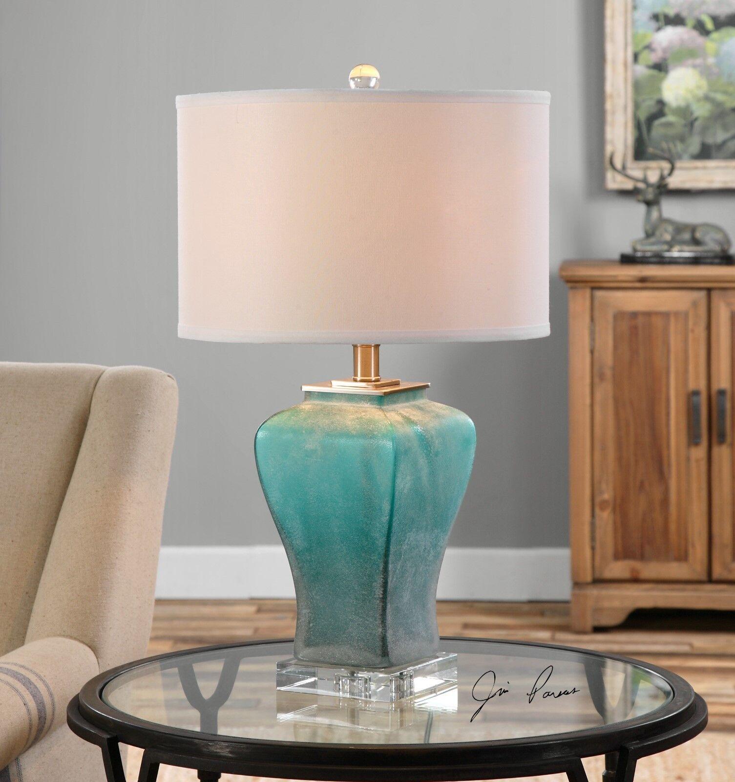 ELEGANT FROSTED Blau Grün GLASS TABLE LAMP CRYSTAL BASE BRUSHED ALUMINUM METAL