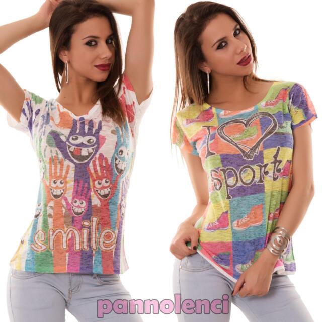 Maglia donna maglietta t-shirt semitrasparente stampe multicolor nuova CC-931