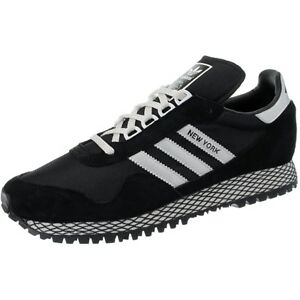 Adidas New York Black Silver Men S Low Top Retro Running Sneakers Suede New Ebay
