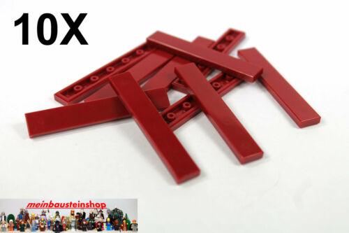 10X Lego® 6636 Basic Platte Fliese Glatt 1X6 Flat Tile Dunkelrot NEU
