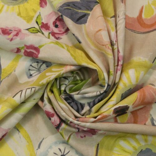"""WATERCOLOR HANDPAINTED FLORAL PASTEL LINEN DRAPERY MULTIUSE FABRIC BY YARD 54/""""W"""