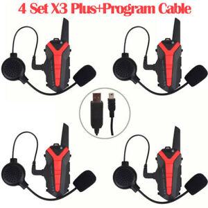 4x-X3-Plus-BT-Intercom-Headset-Walkie-Talkie-UHF-400-470Mhz-USB-Programme-Cable