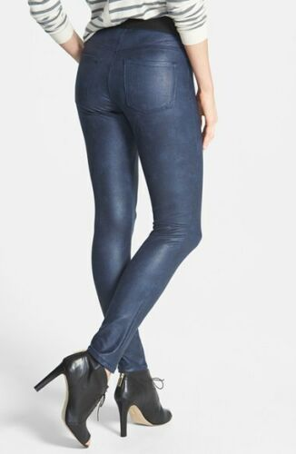 MSRP $108 Karen Kane L73068 Navy Faux Stretch Leather Leggings Pants