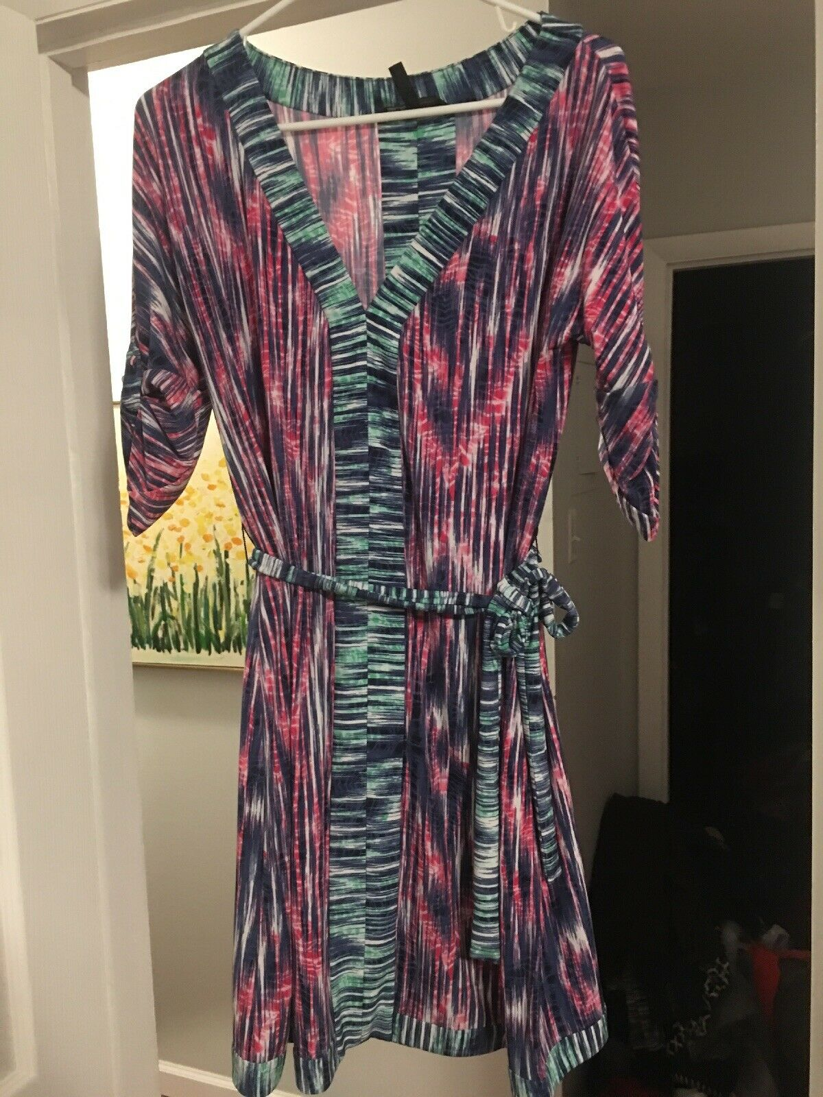 Bcbg Max Azria Faux Wrap Dress S Pink Green bluee 3 4 Sleeves Knee Length