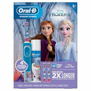 Details about Oral B Kids Disney's Frozen 2 Rechargeable Electric Toothbrush Bundle Pk NEW OB