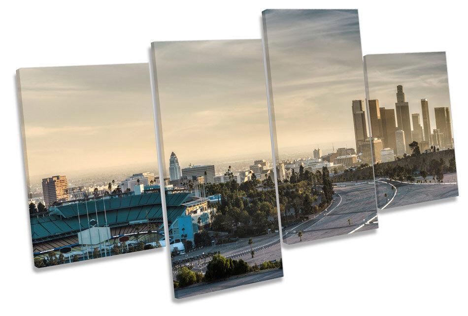 City of Los Angeles Skyline MULTI CANVAS WALL ART Framed Panel