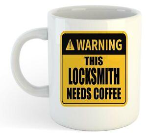 Warning-Esta-Locksmith-Necesita-Cafe-Blanco-Taza-Regalo-Trabajo-Regalo