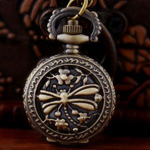 Retro-Antique-Vintage-Dragonfly-Pocket-Watch-Quartz-Necklace-Chain-Pendant-Gift