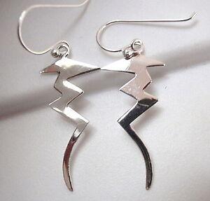 Sleek Curved Pin Earrings 925 Sterling Silver Dangle Corona Sun Jewlery