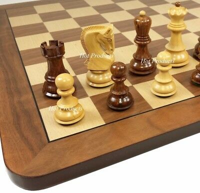 4 QN Sheesham RUSSIAN Opp Tops Staunton Wood Chess Set Storage /& Walnut Bd 19/""