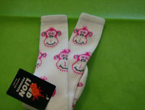 Monkey Face Sock Sz 6-8.5 White//Florescent Pink