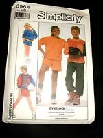 Simplicity 8964 Childs Sewing Pattern Unisex Sweat Clothes Size M