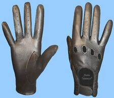 New WOMENS size 9 METALLIC PEWTER KID LEATHER DRIVING GLOVES