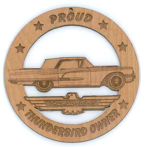 58 Ford Thunderbird Square Bird Wood Ornament Engraved
