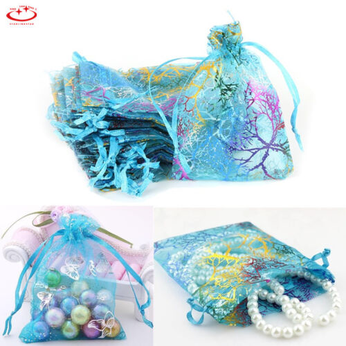 100pcs Coralline Organza Jewelry Pouch Wedding Party Favor Gift Bags 12x9cm
