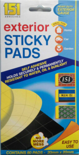 Exterior Heavy Duty Adhesive Sticky Pads Double Sided x 80 Pads Home Car Garden