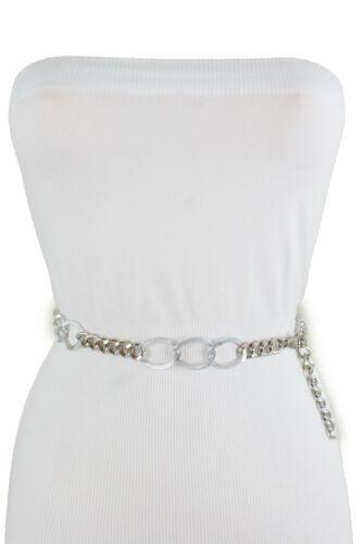 Women Silver Color High Waist Hip Belt Chain Links Thin Waistband Size XS S M