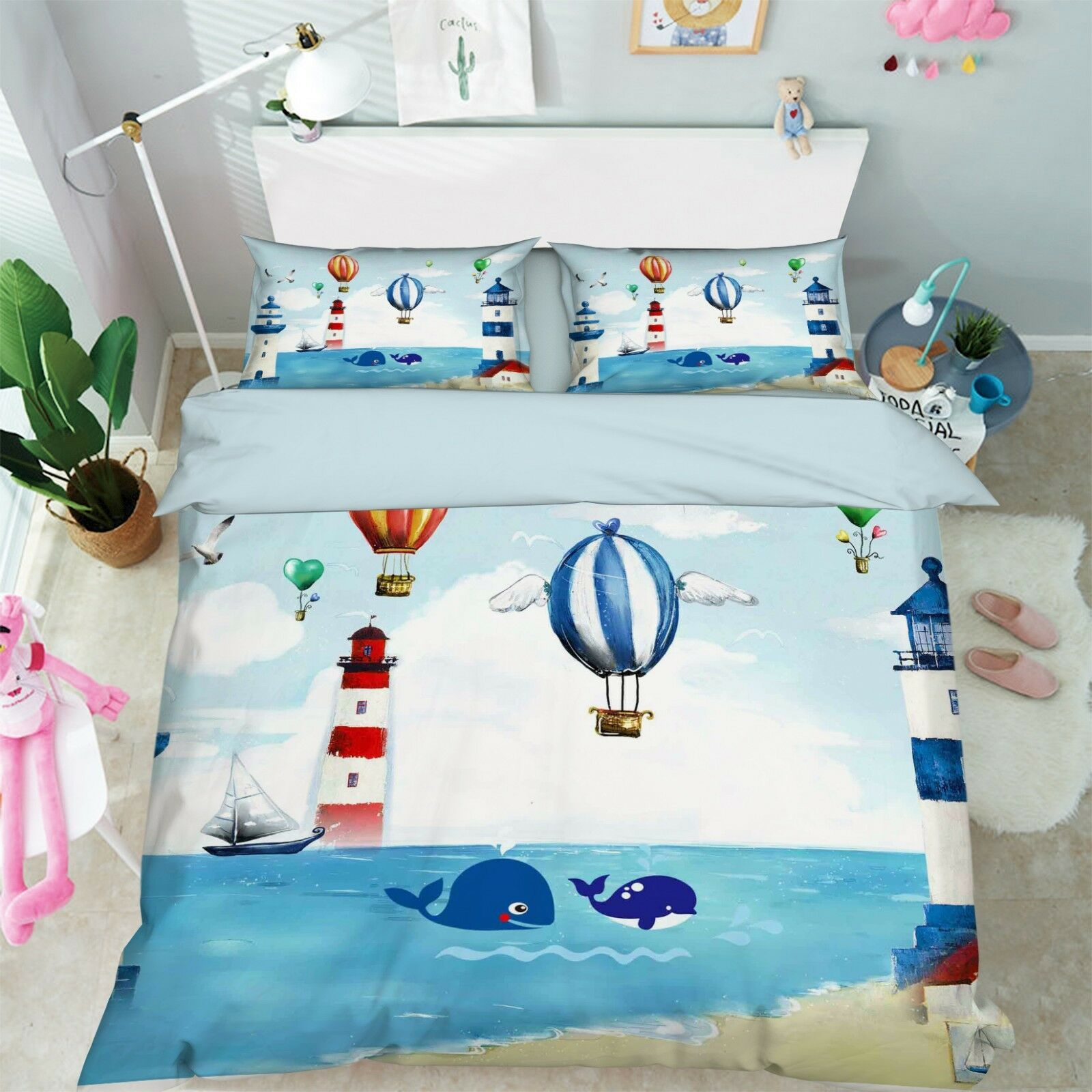 3D Lighthouse Kid 88 Bed Pillowcases Quilt Duvet Cover Set Single Queen King CA