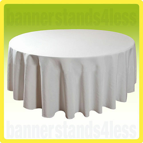 90 Round Table Cover Seamless Wedding Banquet Tablecloth White Ebay