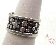 Sterling Silver Vintage 925 Carved Multi Dot Wide Band Ring Sz 7 (5.6g) - 549065