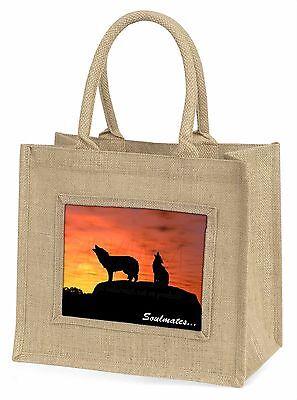 Sonnenuntergang Wölfe Soulmates Große Natürliche Jute-einkaufstasche