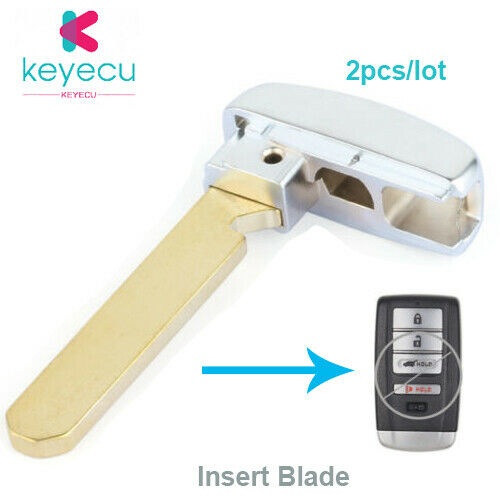 2pcs New Uncut Emergency Remote Key Insert Blade For Acura