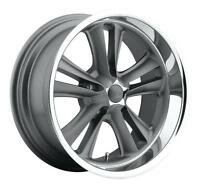 Cpp Foose F099 Knuckle Wheels Rims, 17x7 Front + 17x8 Rear, 5x4.75, Gray