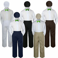 4pc Boys Baby Toddler Kids Lime Green Bow Tie Formal Set Suit Hat S-7