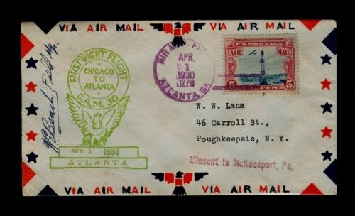 4/1/1930 1st Night Flight Chicago - Atlanta AUTOGRAPHED by Atlanta Field Manager