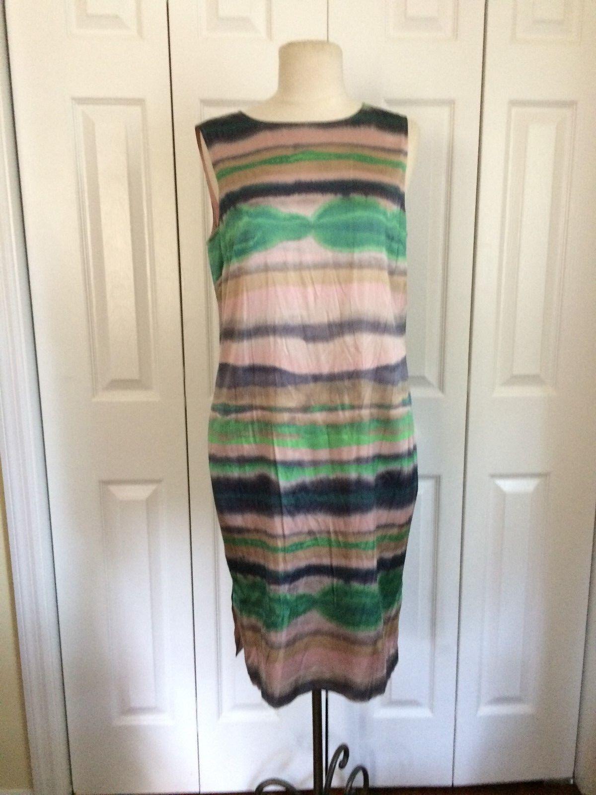 St John Sz 4 Silk Spandex Sleeveless Sheath Dress Tie Dye Pastel Stripe Pattern