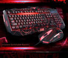 UThink Molten Backlit V100 Ergonomic Usb Gaming Keyboard + 6 Buttons Gamer Mouse