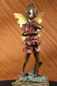 Art-Deco-Angel-Fairy-Red-Patina-Book-Bronze-Sculpture-Handmade-Figure-Decorative