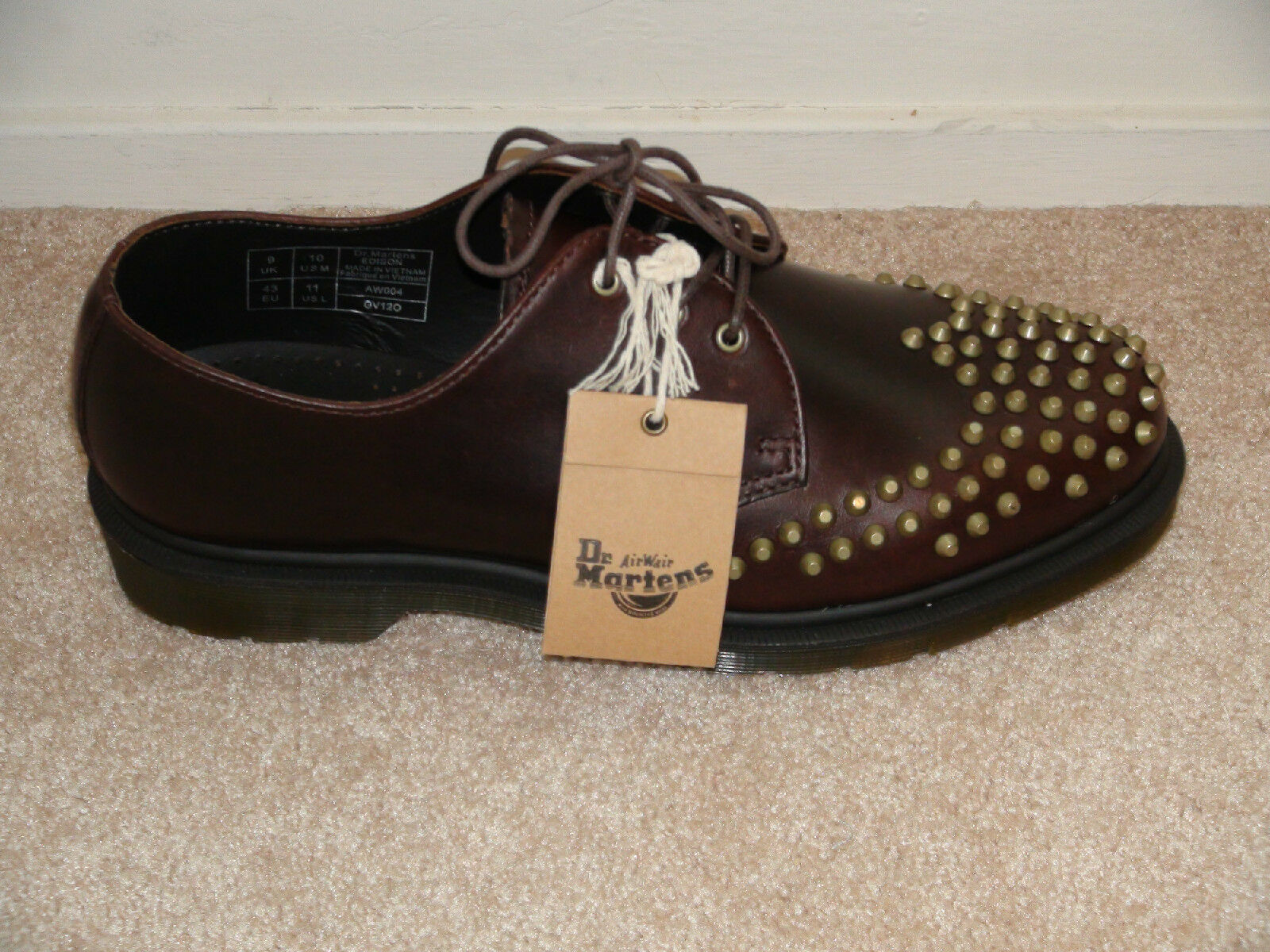Dr. Doc Martens Smooth Brown Leather EDISON Copper Stud Oxford 3 Eye Lace Up NWT