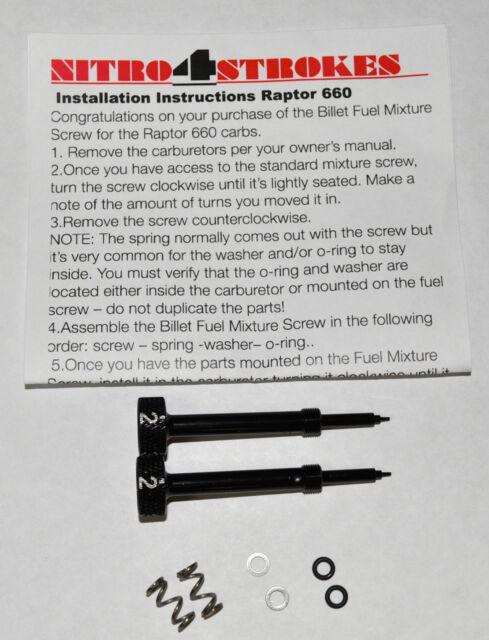 Raptor 660 Billet Fuel Screws for the stock carbs carburetor jets jetting blk