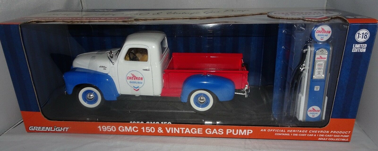 GREENLIGHT 1 18 1950 GMC 150 CHEVRON VINTAGE CHEVRON GAS PUMP DIECAST CAR